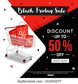 Black Friday Sale Banner for online shop, store. Vector illustration eps 10 format.
