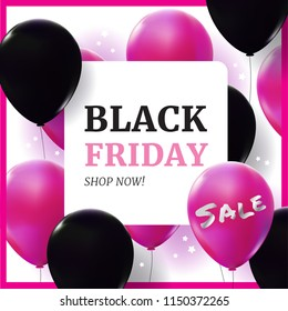 Black Friday sale banner with pink and black balloon floating. Realistic vector for shopping and sale concept.