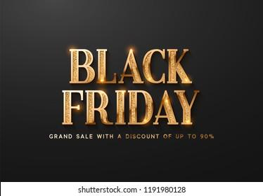 Black Friday Sale. Banner, poster, logo golden color on dark background.