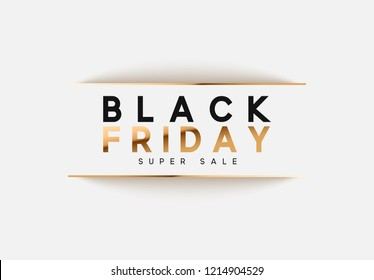 Black Friday Sale. banner, poster, logo. Luxury gold and white text
