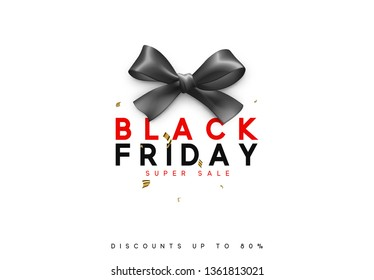 Black Friday sale, banner, poster, logo. Background black ribbon bow.