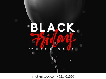 Black Friday sale, banner, poster advert. Card offert promotion design. Background lights bokeh and black air balloon