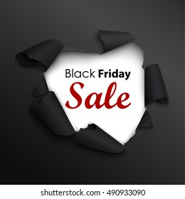Black Friday sale banner in the realistic torn paper design. Black detailed paper hole. Winter sale. Vector illustration