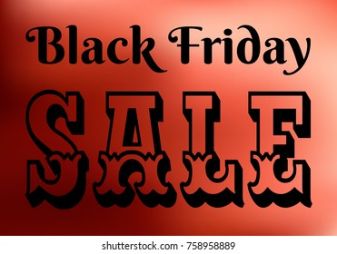 Black Friday Sale banner, red and black vector promotional illustration