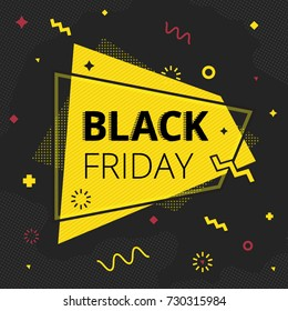 Black friday sale banner in retro style with memphis background. Poster design template