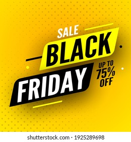 Black friday sale banner with shadow on yellow background, up to 70% off. Vector illustration.