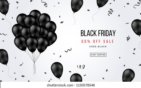 Black Friday Sale Banner with Shiny Balloons Bunch and Confetti on White Background. Vector illustration.