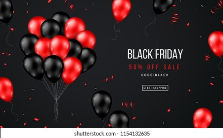 Black Friday Sale Banner with Shiny Balloons Bunch and Confetti on Dark Background. Vector illustration.