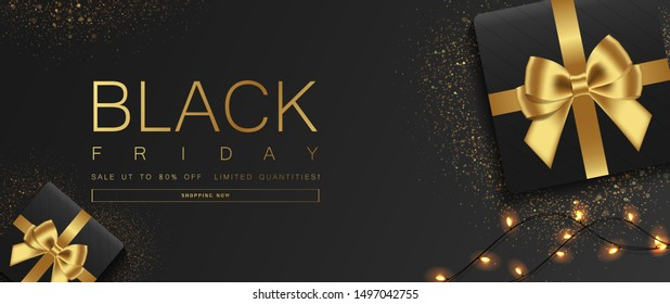 Black Friday sale banner. Sparkling lights with gifts box,and glitter gold design on black background. Top view. Vector illustration.