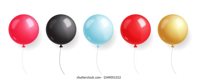 Black friday sale, black banner, super sale, special offer, design template, red, pink, blue, gold and black balloons vector illustration