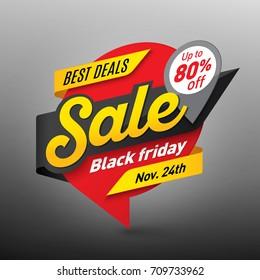 Black friday sale banner template, special offer, end of season. Vector illustration