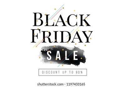 Black friday sale banner. Vector illustration. Typography design.