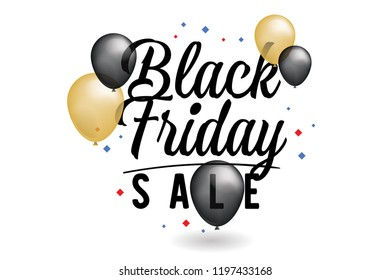 Black friday sale banner. Vector illustration. Typography design with baloons.