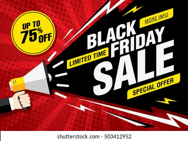 Black friday sale banner. Vector illustration
