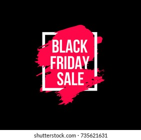 Black friday sale banner vector template with pink hand drawn brush stroke in white frame isolated on black background.