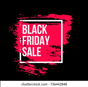 Black friday sale banner vector template with pink hand drawn brush stroke in white frame. Background for text.