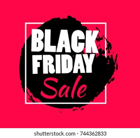 Black friday sale banner vector template with black, round, hand drawn brush stroke. Background for text.