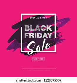 Black Friday Sale banner with watercolor stroke for trendy abstract cover. Banner with editable space for holiday discounts, sales. Futuristic design poster for business promotion, advertising. Vector