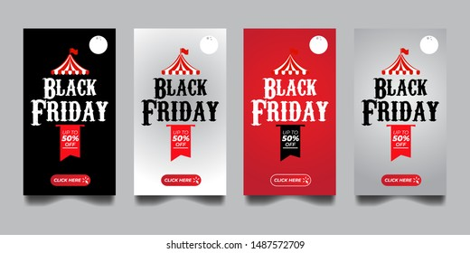 Black Friday sale Banners Design Vector with Circus tent and moon in the night . Discount Up to 50% off Banner Promotion Template Vector