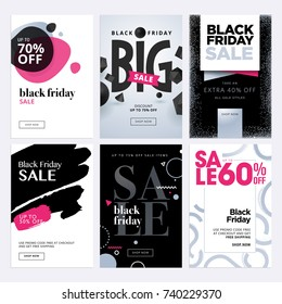 Black Friday sale banners. Set of social media web banners for shopping, sale, product promotion. Vector illustrations for website and mobile website banners, email and newsletter designs, ads.