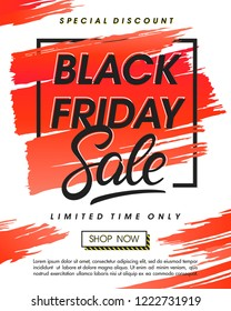 Black friday sale banner.Special offer with lettering and grunge brush stroke.Sale template perfect for prints,flyers,banners, promotion,special offer,ads,coupons and more.Vector Illustration.