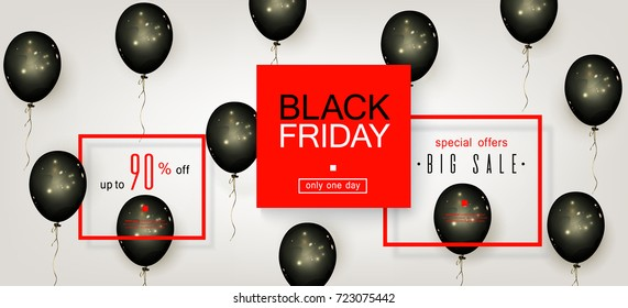 Black Friday Sale. Beautiful template with Black Balloons and red Square Frame. Template for advertising posters, banners, flyers, leaflets, cards. Vector illustration