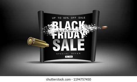 Black Friday sale. Blast wave with flying particles. Shot at prices with a flying bullet, creative template.