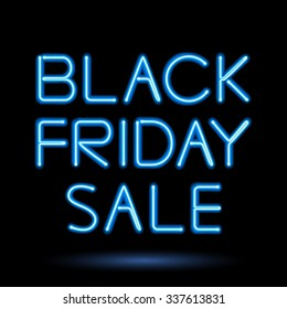 Black friday sale blue neon electric letters vector illustration. Advertising design.
