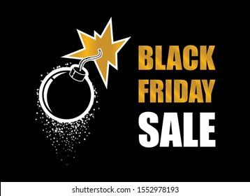 Black Friday Sale Bomb vector. Black Friday explosion vector. Bomb explosion icon. Golden bomb on a dark background. Label for Black Friday. Black Friday Wholesale Bomb Poster