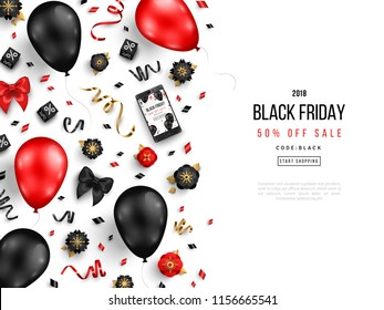 Black Friday Sale Border with Balloons, Flowers and Confetti on White Background. Vector illustration.