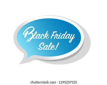 Black Friday sale bright message bubble isolated over a white background