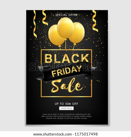 black friday sale brochure flyer ribbon stock vector royalty free