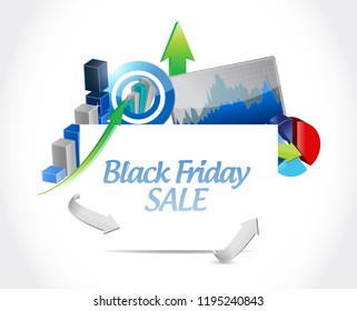 Black Friday sale Business graph success concept illustration isolated over a white background