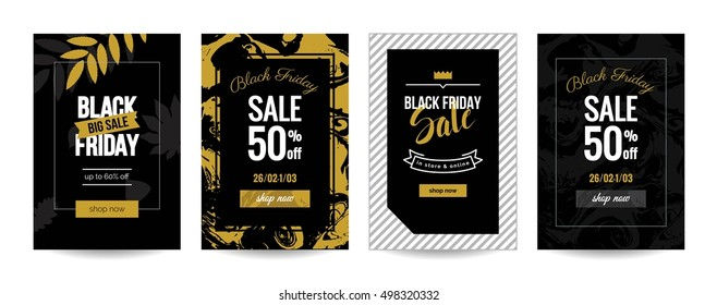 Black friday sale cards. Set of mobile banners for online shopping. Vector illustrations for website and mobile website social media banners, posters, email, ads, promotional material.