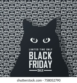 black friday sale . cat illustration