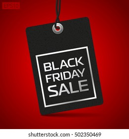 Black Friday Sale, clothing tag, red background, vector design object for you projects