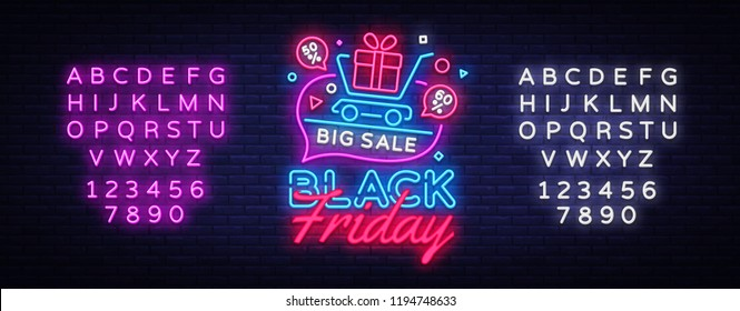 Black Friday Sale concept banner in fashionable neon style, luminous signboard. Nightly advertising of sales rebates of Black Friday. Vector illustration for your projects. Editing text neon sign