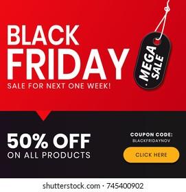 Black Friday Sale Coupon. Mega Sale Black Friday Offer