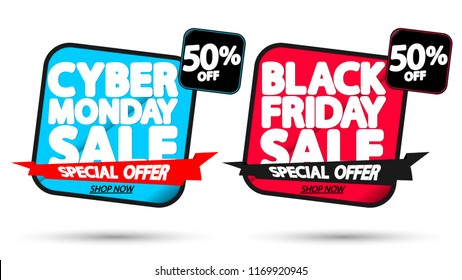 Black Friday Sale and Cyber Monday, discount banners design template, 50% off, promo tags, red ribbon, vector illustration