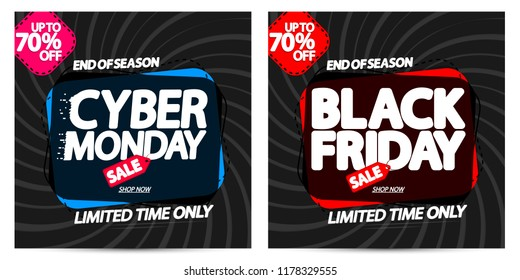 Black Friday Sale and Cyber Monday, discount banners design template, up to 70% off, promo tags, end of season, vector illustration