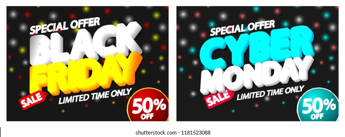 Black Friday Sale and Cyber Monday, discount posters design template, special offer, 50% off, vector illustration