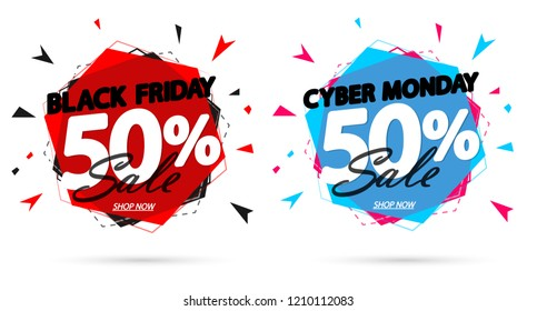 Black Friday Sale and Cyber Monday, discount banners design template, 50% off, promo tags, vector illustration