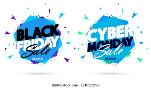 Black Friday Sale and Cyber Monday, discount banners design template, promo tags, vector illustration