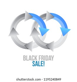 Black Friday sale Cycle color message concept illustration isolated over a white background