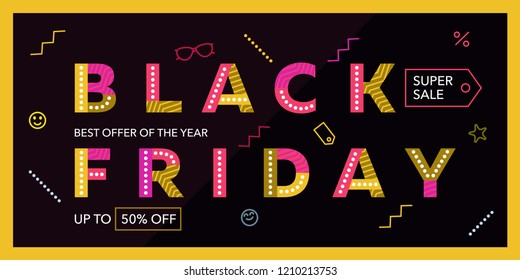 Black friday sale. Dark blue web banner. Super Sale, end of season discounts banner. The original inscription. Colored letters with a pattern. Advertising. Vector illustration