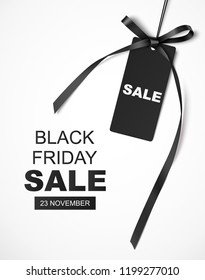 Black friday SALE design template. Vector backgound with decorative sale tag and long black ribbon