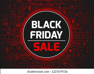 Black Friday sale design template. Futuristic chipset technology background. Black friday red banner. Vector illustration.