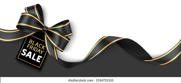 Black friday sale design template. Holiday background with decorative black bow and price tag. Vector illustration.