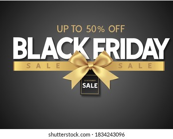 Black friday sale design template Text with decorative golden bow. Vector illustration