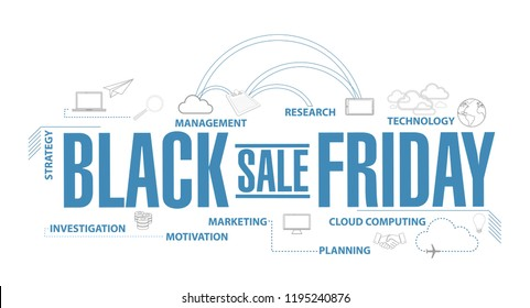 Black Friday sale diagram plan concept isolated over a white background